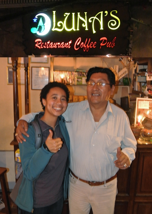 Favorite restaurant in La Paz (Lisa & the owner, who spoke some English)